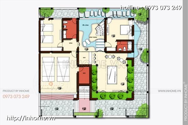 Thiết kế biệt thự 2 tầng hiện đại lôi cuốn