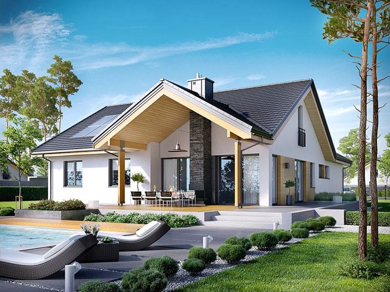 Nhà biệt thự trệt mái thái phong cách villa