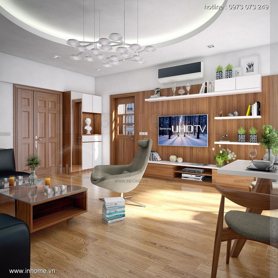 Thiết kế phòng khách khu đô thị Văn Quán