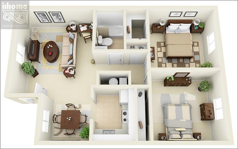Mẫu thiết kế nội thất nhà chung cư 80m2