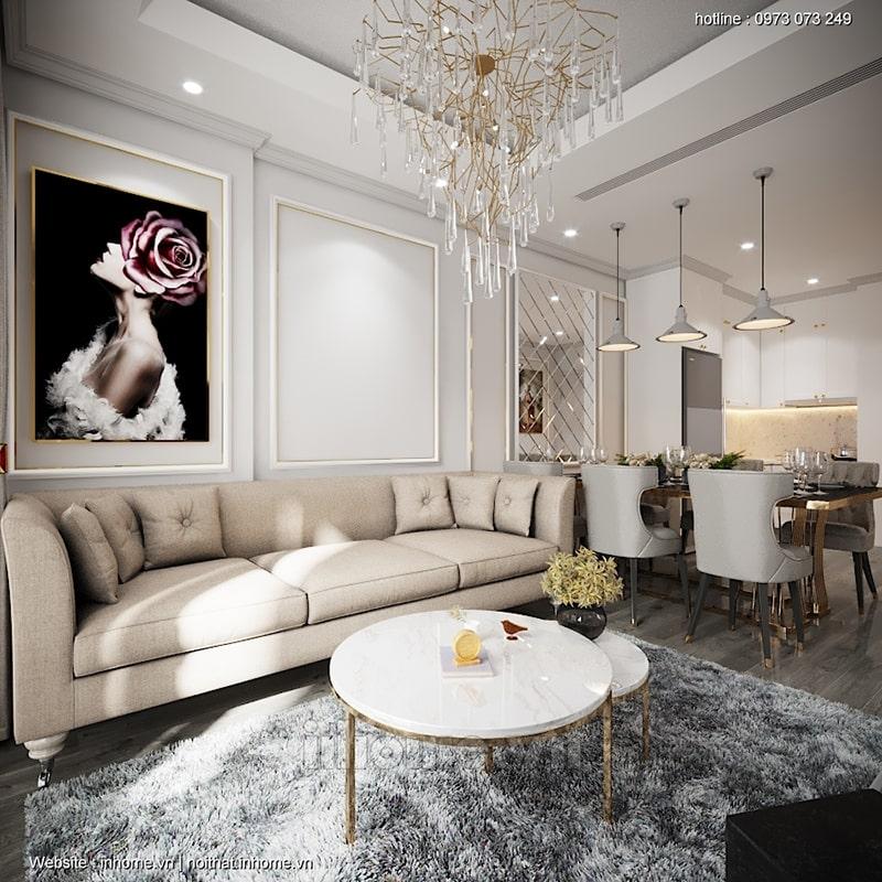 Kết hợp khung tranh hay thảm lông là những cách thức trang trí phòng khách đơn giản mà hiệu quả