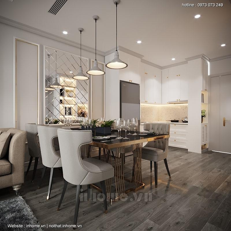 Bố trí bàn ăn liền kề phòng khách và gian bếp - giải pháp đơn giản giúp tiết kiệm không gian