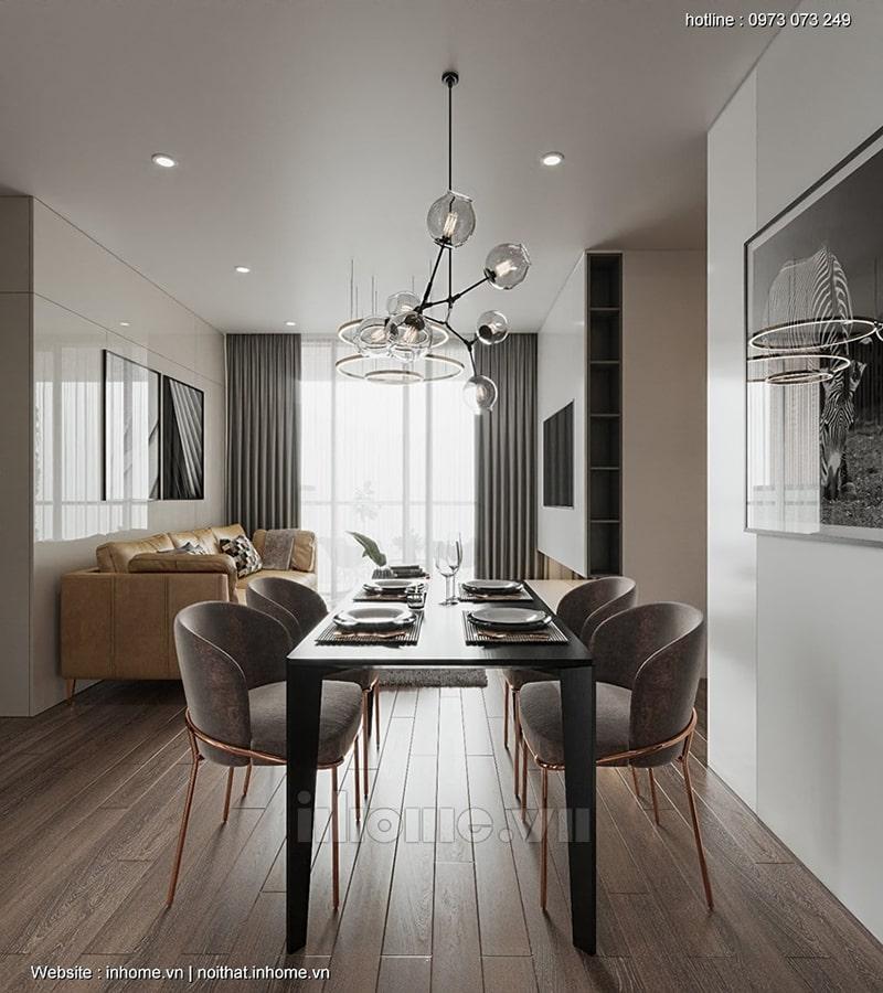Phòng ngủ kết hợp bàn làm việc và kệ sách mang lại không gian sống tiện nghi cho gia chủ