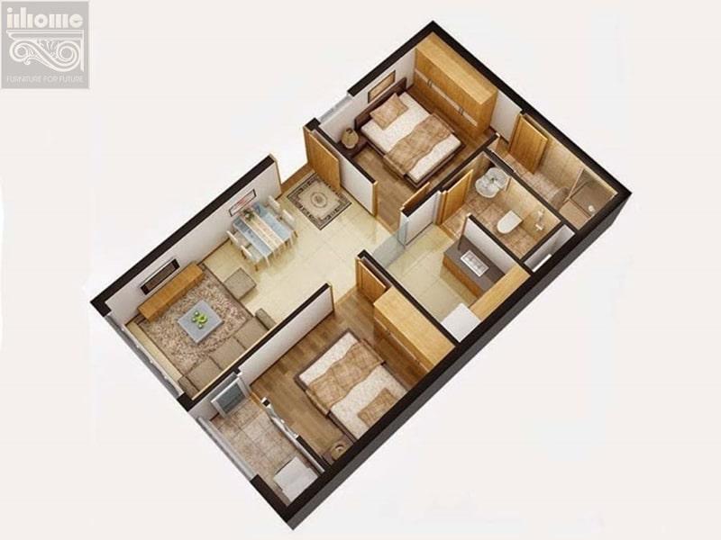 Một trong những tiêu chí cần tạo dựng cho mẫu thiết kế nội thất chung cư 60m2 đó là sự đơn giản nhưng vẫn tinh tế, quý phái.