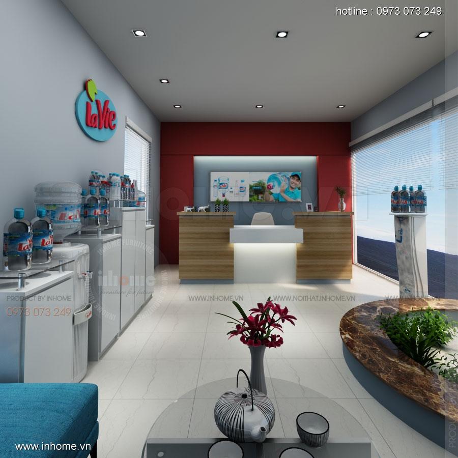 Thiết kế nội thất phòng lễ tân Công ty nước khoáng Lavie