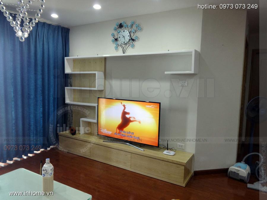 Tủ kệ tivi đẹp nhà chị Hương, Chung cư N04 Hoàng Đạo Thúy