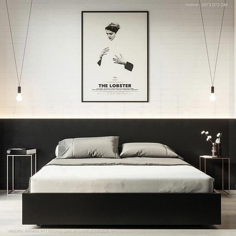 Thiết kế giường ngủ hiện đại, sang trọng với tông đen trắng