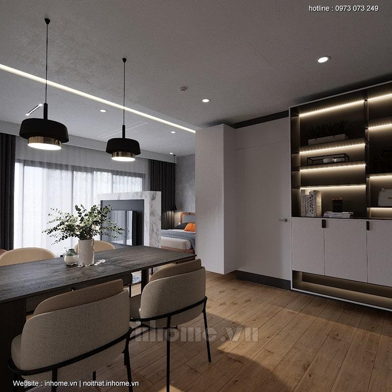 Phòng bếp liền kề phòng khách tạo sự thông thoáng cho không gian