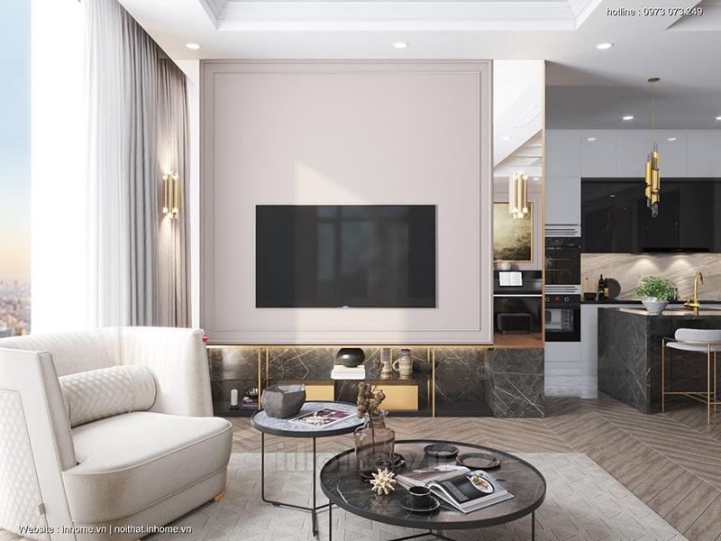 Thiết kế phòng khách chung cư Royal City
