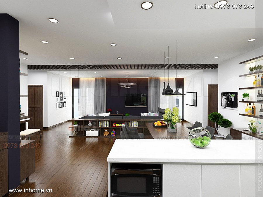 Thiết kế nội thất chung cư căn hộ 70m2 sang trọng tiện nghi 02