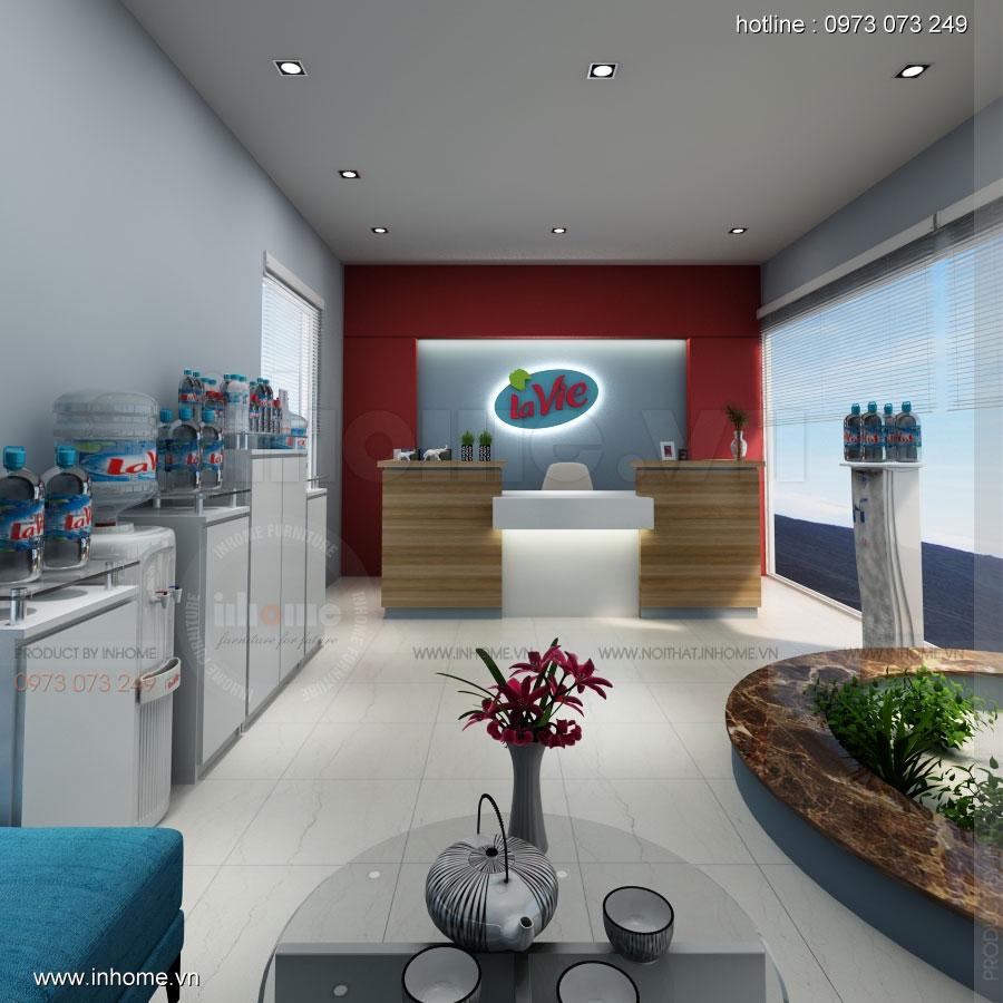 Thiết kế nội thất phòng lễ tân Công ty nước khoáng Lavie 02