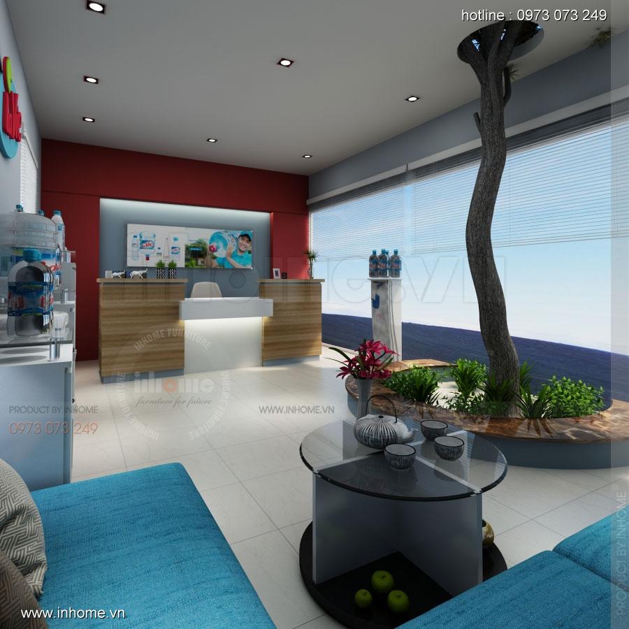 Thiết kế nội thất phòng lễ tân Công ty nước khoáng Lavie 05