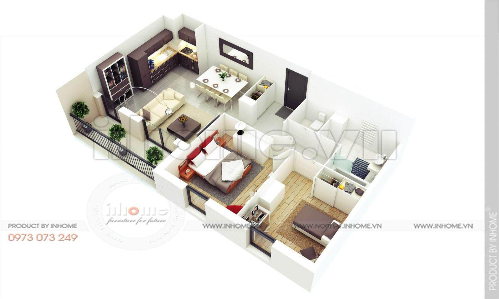 Thiết kế căn hộ 60m2 2 phòng ngủ 13