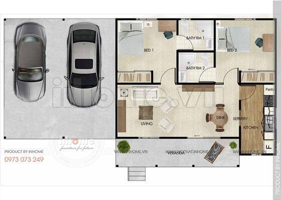 Thiết kế căn hộ 60m2 2 phòng ngủ 02