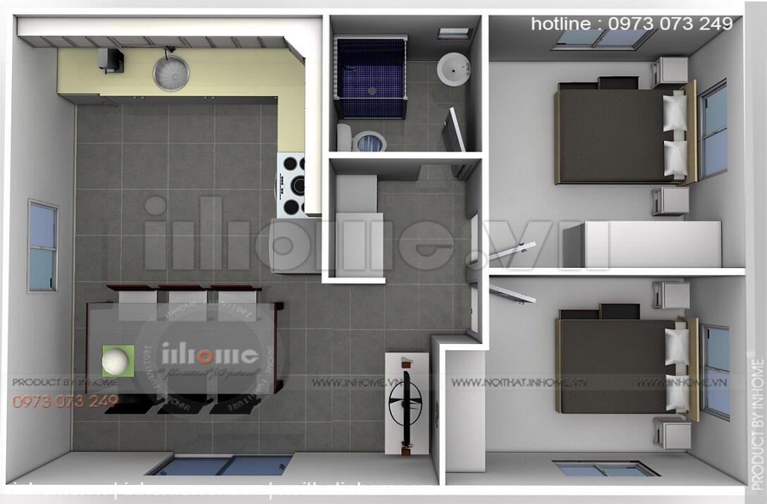 Thiết kế căn hộ 60m2 2 phòng ngủ 03