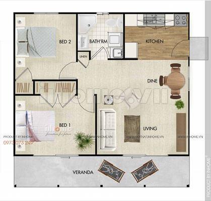 Thiết kế căn hộ 60m2 2 phòng ngủ 04