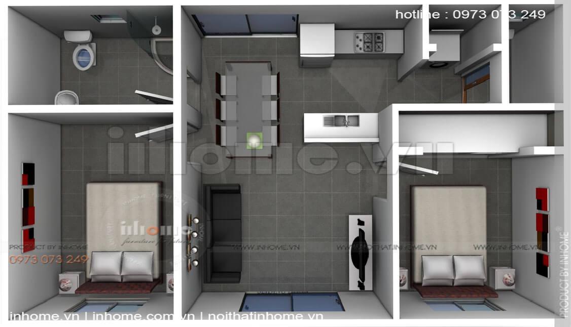 Thiết kế căn hộ 60m2 2 phòng ngủ 05