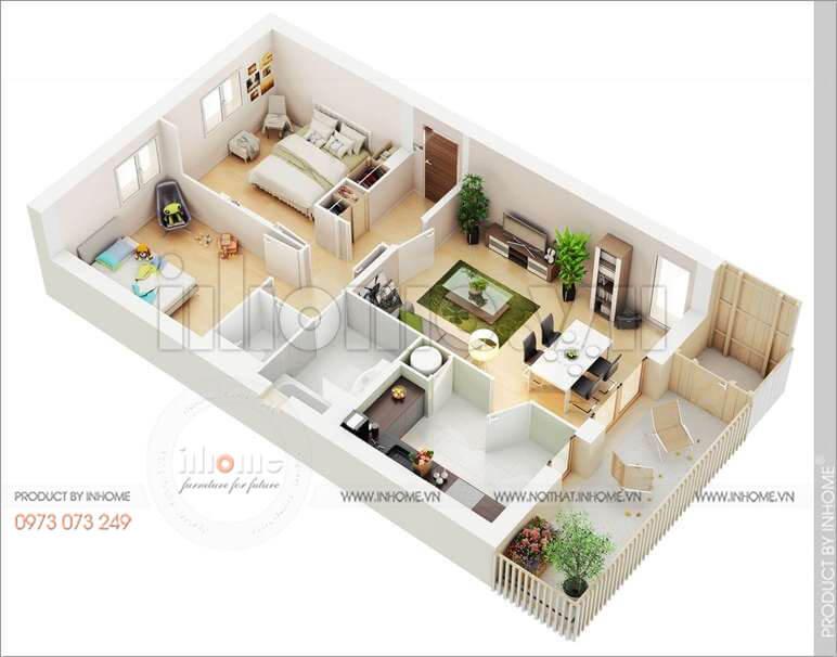 Thiết kế căn hộ 60m2 2 phòng ngủ 06