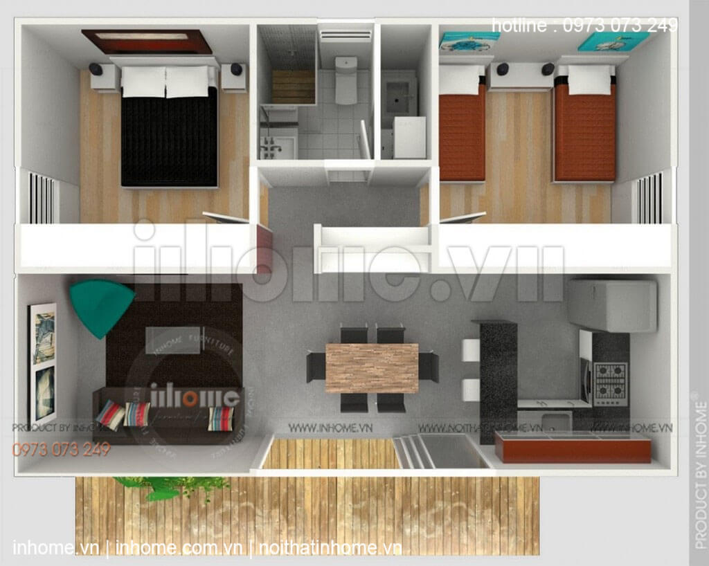 Thiết kế căn hộ 60m2 2 phòng ngủ 08