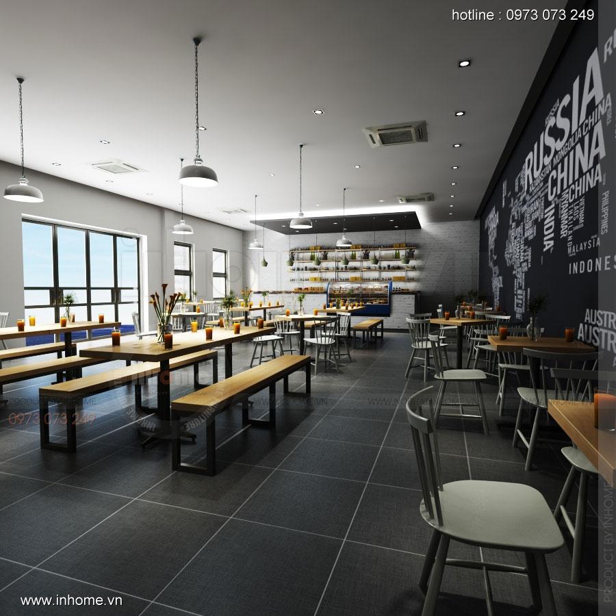 Thiết kế nội thất nhà hàng thức ăn nhanh hiện đại, sang trọng