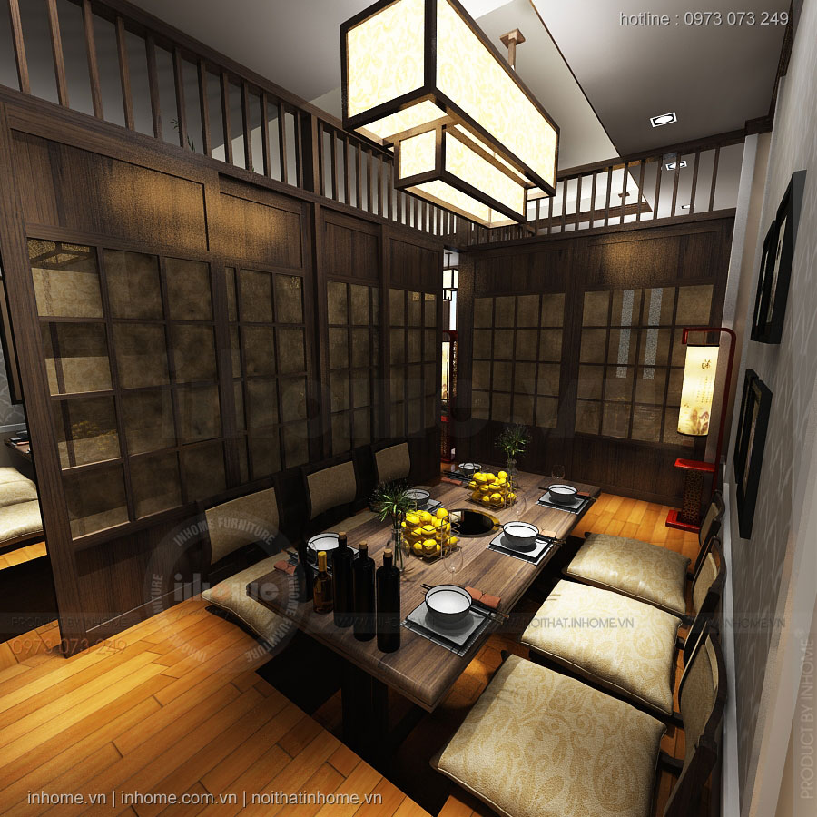 Thiết kế nội thất nhà hàng Nhật Wakamono Sushi