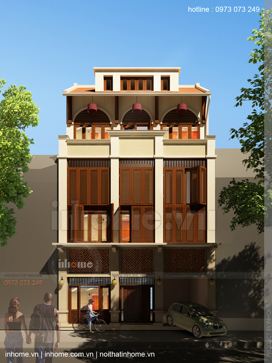 Thiết kế nhà phố đẹp theo phong cách nhà Việt xưa phố Hàng Chĩnh 02