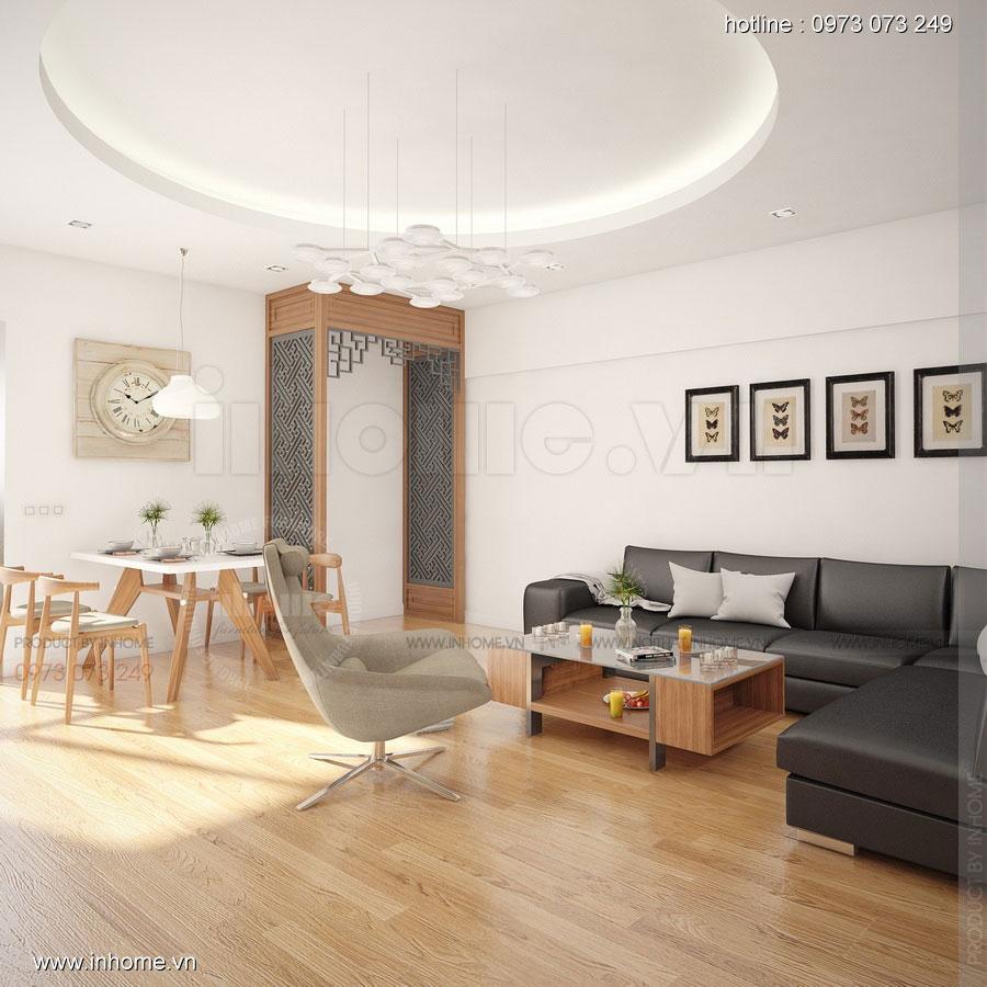 Thiết kế phòng khách khu đô thị Văn Quán: Gọn gàng