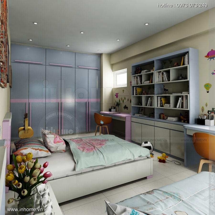 Thiết kế nội thất phòng ngủ trẻ em, Chị Thủy, Long Biên