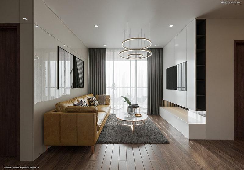 Không gian phòng khách tiện nghi trong thiết kế nội thất chung cư An Bình City