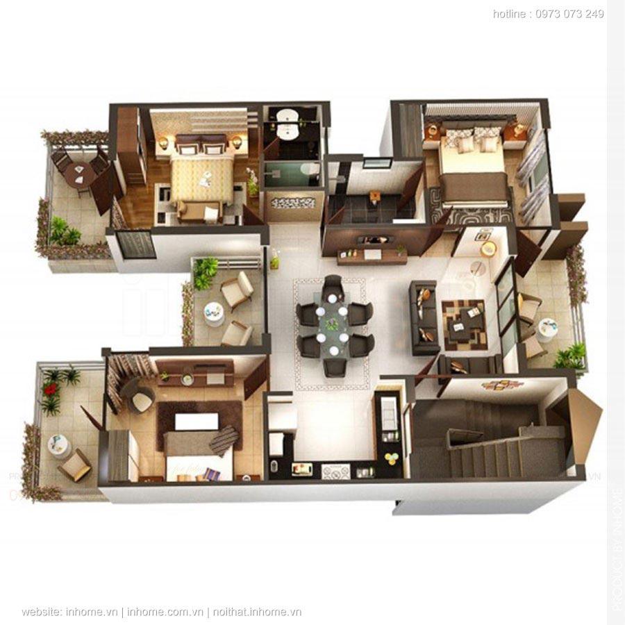 40 mẫu thiết kế nhà cấp 4 có 3 phòng ngủ đẹp đơn giản