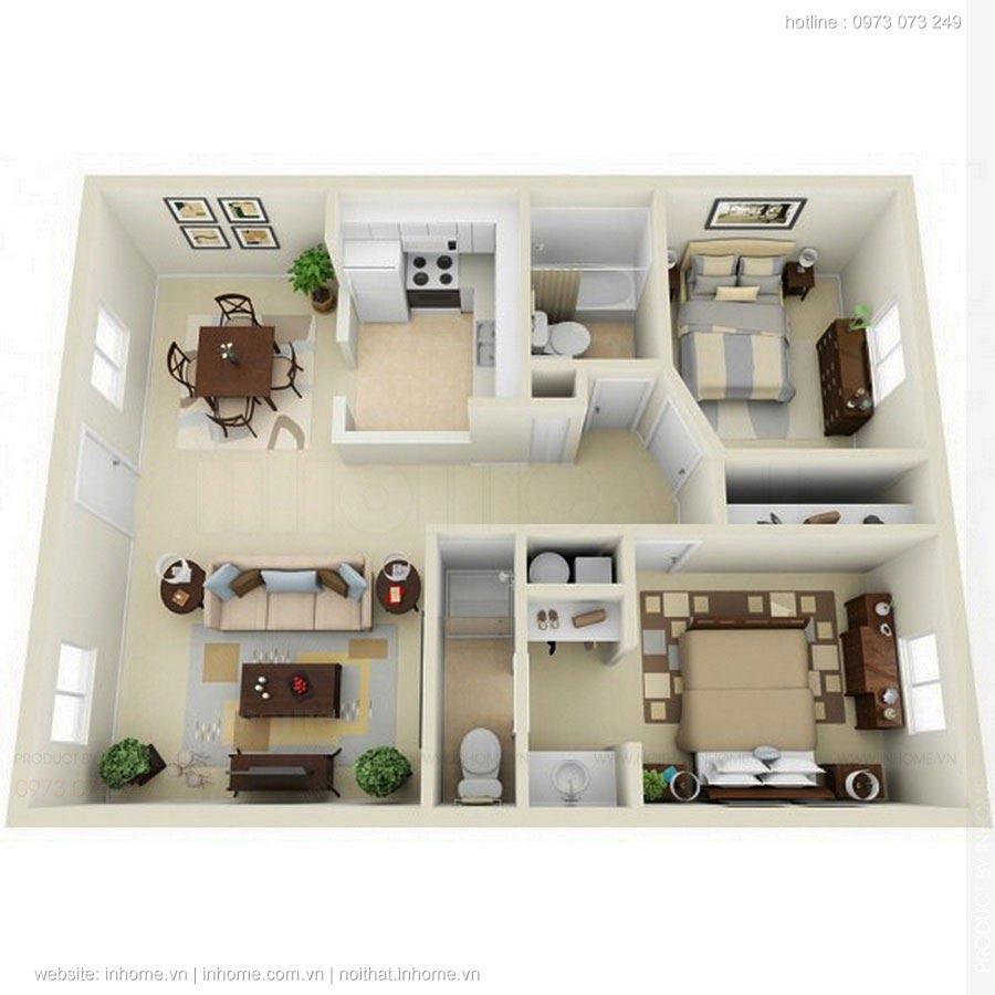 Bố trí nội thất chung cư 2 phòng ngủ