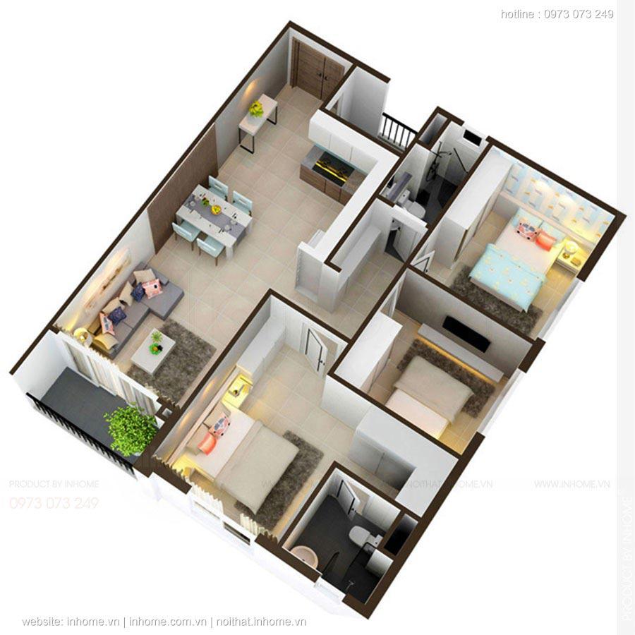 Mẫu căn hộ 2 phòng ngủ đẹp