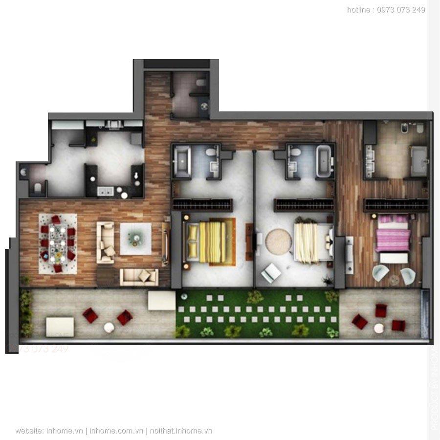 25 mẫu chung cư 3 phòng ngủ