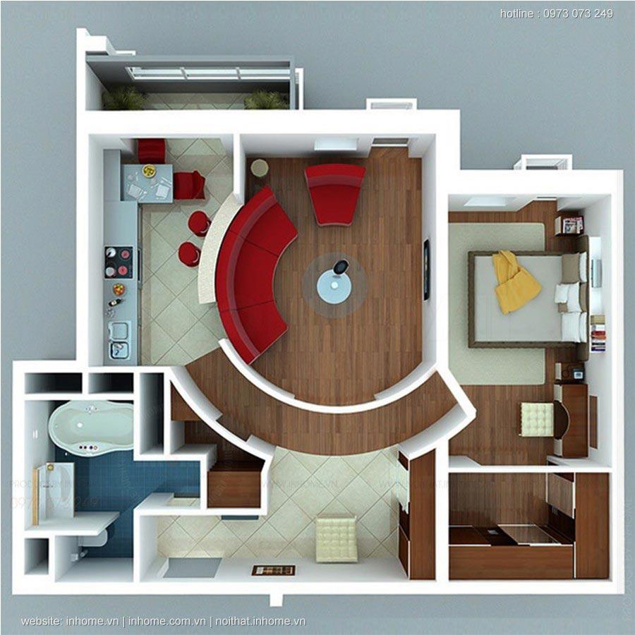 Mẫu căn hộ một phòng ngủ