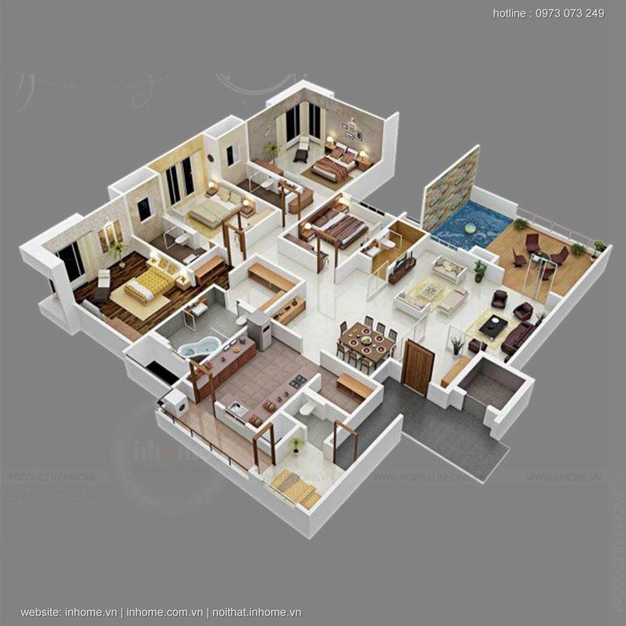 Mẫu thiết kế căn hộ 4 phòng ngủ tiện nghi