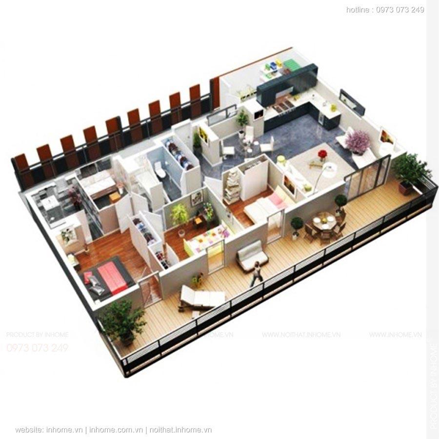 Mẫu thiết kế căn hộ 3 phòng ngủ