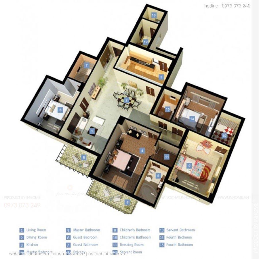 Thiết kế chung cư 4 phòng ngủ đẹp