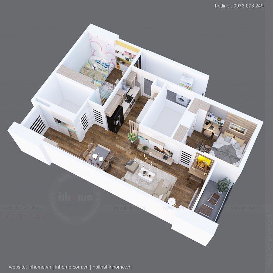Bố trí căn hộ nhìn từ trên xuống