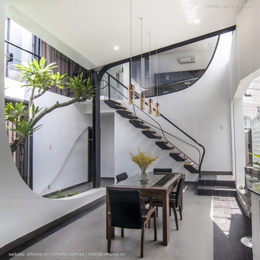 Bố trí phòng khách dưới chân cầu thang