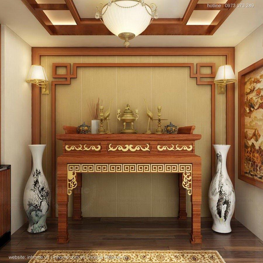 Thiết kế nội thất phòng thờ đẹp trang trọng