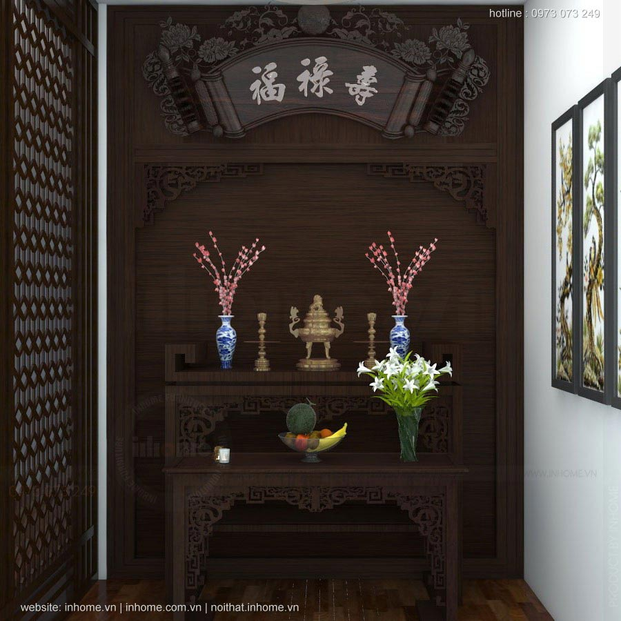 Thiết kế nội thất phòng thờ nhỏ đẹp cho gia đình thiếu diện tích