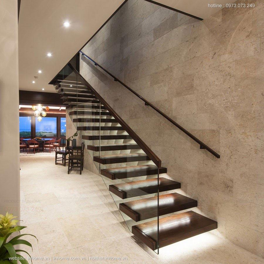 Thiết kế nội thất phòng khách nhà ống có cầu thang đẹp