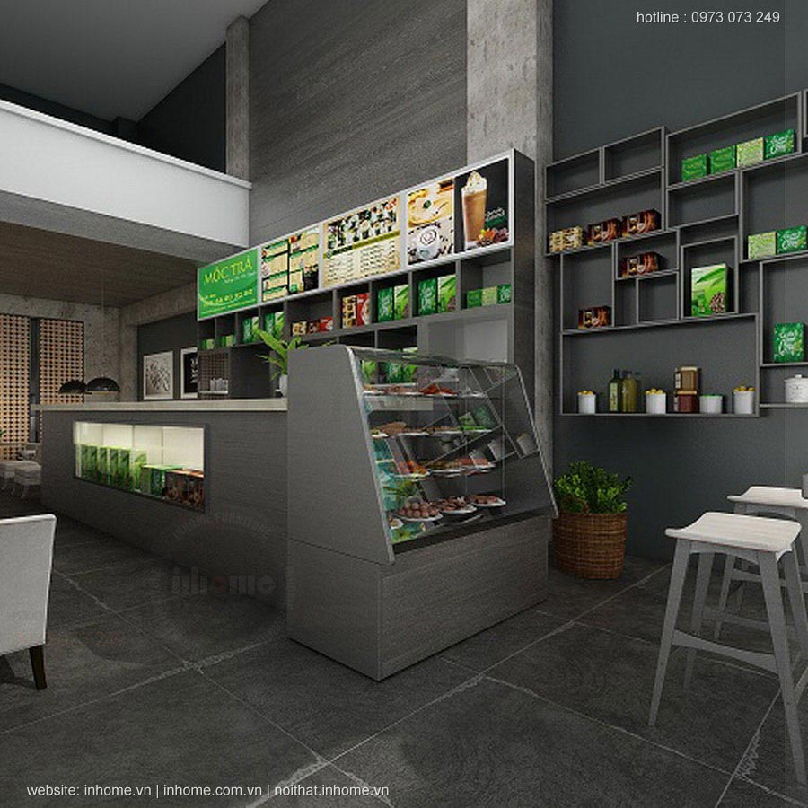 Mẫu thiết kế quán trà sữa nhỏ đẹp đơn giản