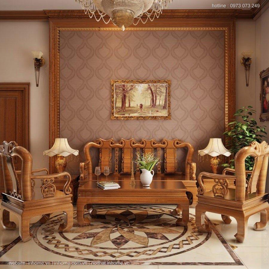 Thiết kế nội thất phòng khách bằng gỗ hiện đại, sang trọng