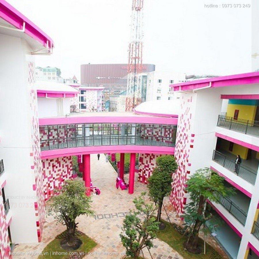 Toàn cảnh trường TH School ngôi trường màu hồng giữa lòng Hà Nội