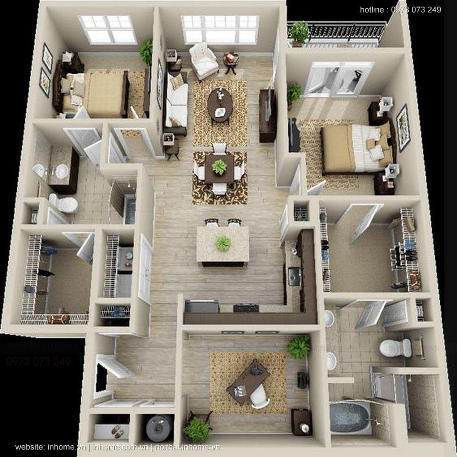 9 mẫu thiết kế nhà 1 tầng 3 phòng ngủ