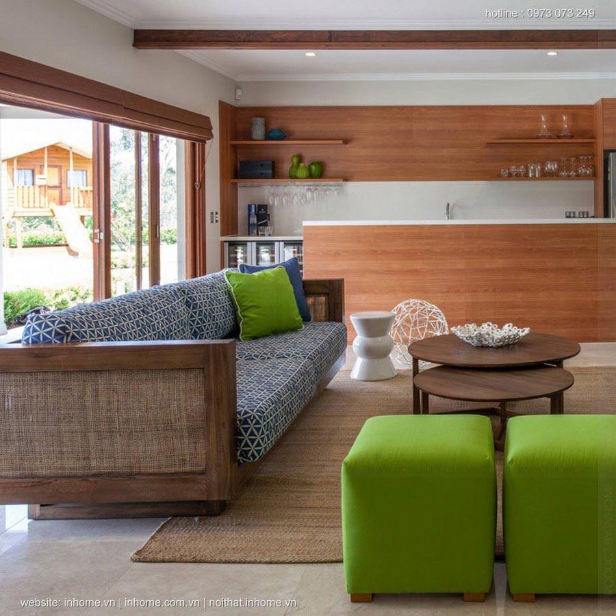 Thiết kế nội thất chung cư phòng khách với lựa chọn thay thế màu xanh lá cây