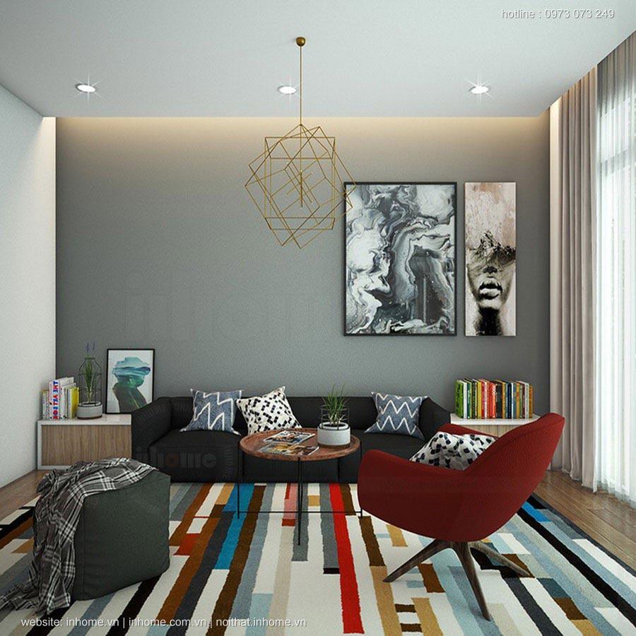 Thiết kế nội thất phòng khách ấm cúng cho chung cư