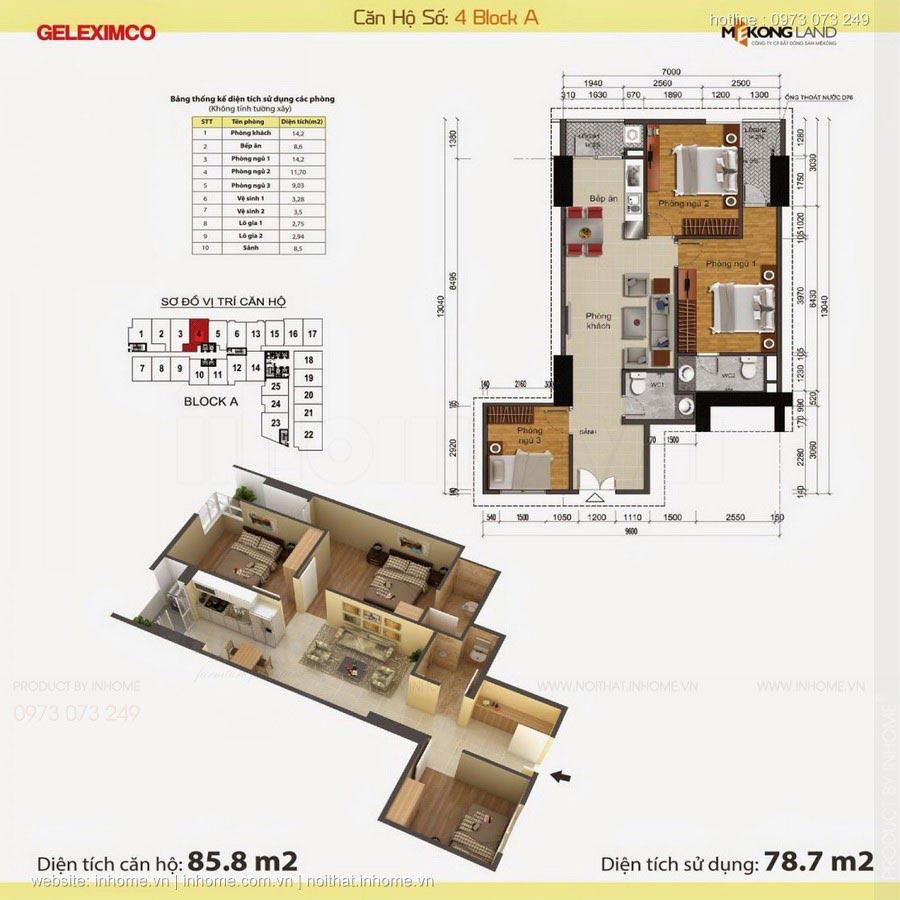 Thiết kế nội thất chung cư Gemek Tower