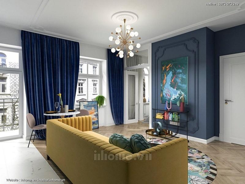 Bản vẽ phòng khách thiết kế nội thất chung cư số 3